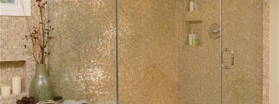 glass tile shower wall neutral floor