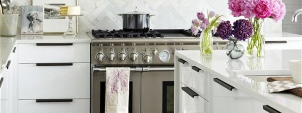 marble backsplash wood floors grey kitchen